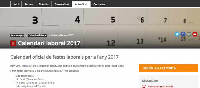 La Generalitat aprova el calendari definitiu d'obertura comercial autoritzada a Catalunya per al 2017